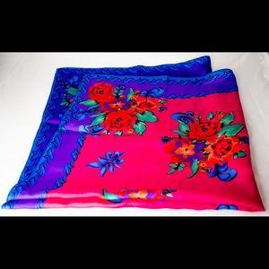 Bright-colored LIZ CLAIBORNE Vintage Floral Scarf